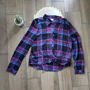 Aeropostale navy button down flannel shirt L
